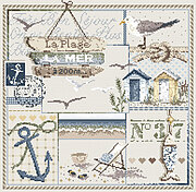 La Plage a (At The Beach) - Cross Stitch Pattern