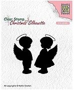 Angel Girl and Boy Christmas Silhouette - Clear Stamp