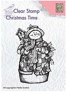 Christmas Snowman with Birdhouse - Nellie's Choice Stamp