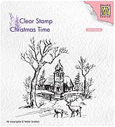 Winter Church and Deer - Nellie's Choice Clear Stamp
