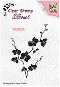 Silhouette Branch with Flowers - Nellie's Choice Clear Stamp