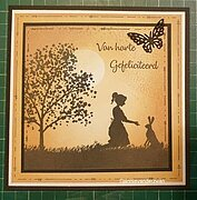 Silhouette Girl with Hare - Clear Stamp