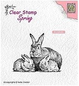 Spring Rabbit Family - Nellie's Choice Clear Stamp
