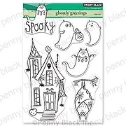 Ghostly Greetings - Halloween Penny Black Clear Stamp