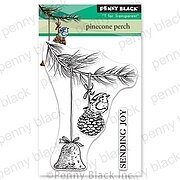 Pinecone Perch Mini - Christmas Penny Black Clear Stamp