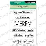 Merry Builder Mini - Christmas Penny Black Clear Stamp