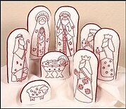 Folkart Redwork Nativity - Embroidery Kit