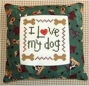 I Love my Dog Pillow Kit - Cross Stitch Kit