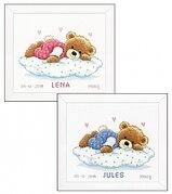 Snoozing Teddy Birth Announcement - Cross Stitch Kit