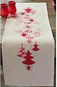 Red Christmas Decorations Table Runner Cross Stitch Kit