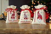 Christmas Gnomes Bags - Set of 3 - Cross Stitch Kit