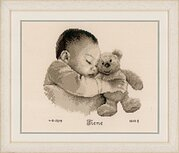 Baby & Bear Birth Announcement - Cross Stitch Kit