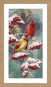 Scarlet & Snow Cardinals - Cross Stitch Kit