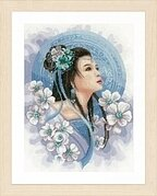 Asian Lady in Blue - Cross Stitch Kit
