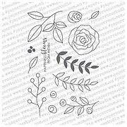 Ella's Garden Scribble Leaves - Paper Rose Clear Stamp