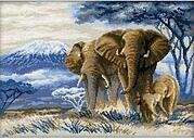 Elephants In The Savannah - Cross Stitch Kit