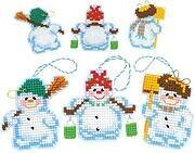 Snowmen Christmas Ornaments Plastic Canvas Cross Stitch Kit