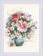 Peonies and Wild Roses - Cross Stitch Kit