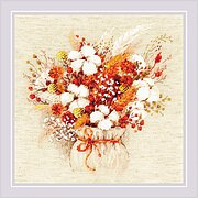 Bouquet with Lagurus and Cotton - Cross Stitch Kit
