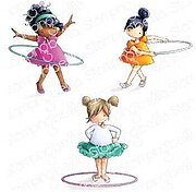 Tiny Townie Hula Hoopers - Cling Rubber Stamp