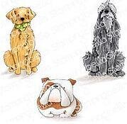 Golden, Wolfhound and Bulldog - Cling Rubber Stamp