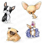 Bostons, Pug, and Chihuahua - Cling Rubber Stamp