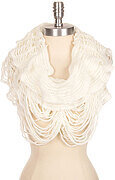 Fluffy Solid Net Knit Infinity Scarf - White