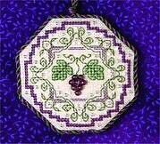 Wine Bottle Grapes Fob - Cross Stitch Pattern
