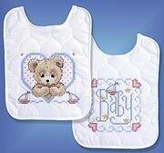 Bedtime Prayer Boy Bib Pair - Stamped Cross Stitch Kit