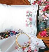 Gloriosa Pillowcase Pair - Stamped Embroidery Kit