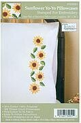Sunflower Yo-Yo Pillowcase Pair - Stamped Embroidery Kit
