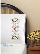 Cats in Flowers Pillowcase Pair - Stamped Embroidery Kit