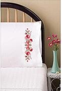Pink Floral Pillowcase Pair - Stamped Embroidery Kit