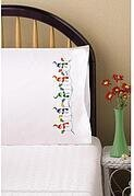Snowman Row Pillowcase Pair - Stamped Embroidery Kit