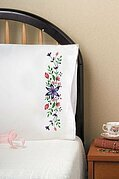 Star Flower Pillowcase Pair - Stamped Embroidery Kit