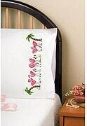 Flamingos Pillowcase Pair - Stamped Embroidery Kit