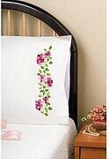 Pink Roses Pillowcase Pair - Stamped Embroidery Kit