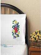 Two Hearts Pillowcase Pair - Stamped Embroidery Kit
