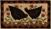 Hens in the Garden - Cross Stitch Pattern
