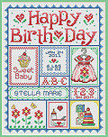 Happy Birth Day (Girls) - Cross Stitch Pattern