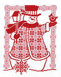 Redwork Snowman - Cross Stitch Pattern