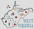 West Virginia Map - Cross Stitch Pattern