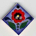 Jim Shore Red Flower on Blue Button
