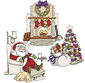 Sleepy Santa Christmas Trifold - Unmounted Rubber Stamp