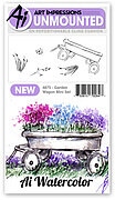 Watercolor Garden Wagon Mini Set - Unmounted Rubber Stamp