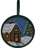Cabin In The Snow Christmas Ornament - Needlepoint Kit