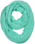 Acrylic Knit Wave Pattern Infinity Scarf - Mint Teal Green