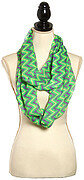 Green Purple Polyester Infinity Scarf With Chevron Design