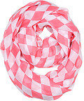 Coral Polyester Infinity Scarf With Block Check Pattern