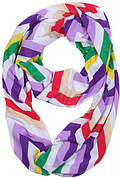 Purple Multi Color Polyester Jersey Chevron Infinity Scarf